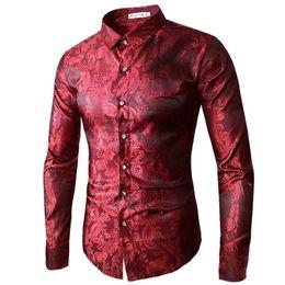 2019 camisas de casamento roxas para homens 2018 Alta qualidade Red Gold Roxo azul bordado dos homens camisa de vestido de Moda Slim Festa de Casamento Bussiness Masculino Camisas de Manga Longa Y1892101 desconto camisas de casamento roxas para homens