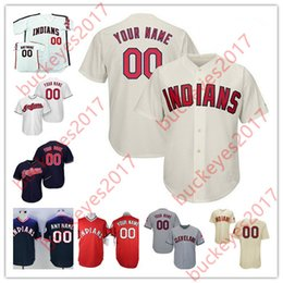 Wholesale Indian Customs Gold - Custom Cleveland Indians Mens Womens Youth White Navy Gray Cream Stitched Any Name Any Number Personalized Cool Base Baseball Jerseys S-4XL