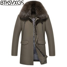 Wholesale grey fox fur coats - BTKSYXGS 2017 New winter Men's 90% white duck down jacket coat Fashion Thick warm Luxury fox fur collar Hooded parka outerwear