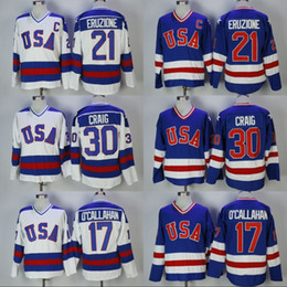 Wholesale Usa Vintage - men's 1980 USA Hockey Jersey 30 Jim Craig 21 Mike Eruzione 17 Jack O'Callahan Team USA Miracle On Alternate Year Throwback Vintage Jerseys