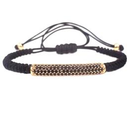 Wholesale Macrame Bracelet Pave Beads - Anil Arjandas Men Bracelets,Pure Gold Color & Micro Pave Black CZ Tube Beads Briaded Macrame Bracelet Pulseira Feminina