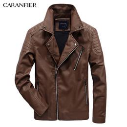 Wholesale Genuine Leather Biker Jacket - Wholesale- CARANFIER 2017 New Men Leather Jacket Winter Fashion High Quality PU Casual Biker Jacket Male Outerwear & Coats Plus Size 5XL