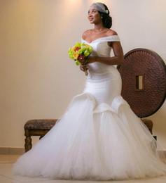 Arab sexy kleid bild online-Elegante Schulterfrei Meerjungfrau Brautkleider Rüschen Ärmellose Perlen Arabische Brautkleid Sweep Zug Real Image Lace Plus Size Brautkleider