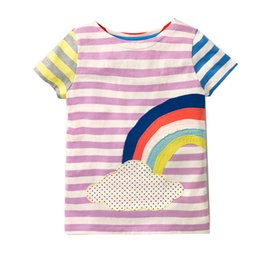 Wholesale Wholesale Shirts For Kids - Girl Summer T-Shirt Cartoon Printed Short Sleeve Tops for Kids Casual Summer Clothes Classic Baby Girll Clothing
