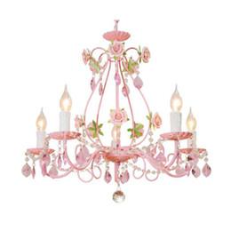 Canada Rose lustre fleur de mariage, Rose décor cristal lustre éclairage, chambre à coucher salle de séjour fille chambre lampe suspendue enfants Offre