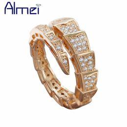Almei anéis de noivado para as mulheres Rosa de Ouro Cor Resizable Cobra feminino anel presentes jóia do casamento Dopshipping 5% Off Y320 de Fornecedores de anel de atacado