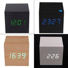 Wholesale Desk Clock Thermometer - locks Alarm Clocks Wood Square Blue LED Alarm Digital White Desk Clock Wooden Thermometer USB AAA Thermometer Date Display Vioce Touch Ac...