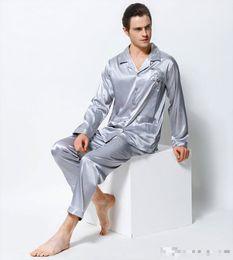 7b3a0b83b5 Men s Satin Silk Pajamas Dragon Embroidery Pyjama Sets Long-Sleeved  Luxurious Emulation Silk Sleepwear Pijama 3313