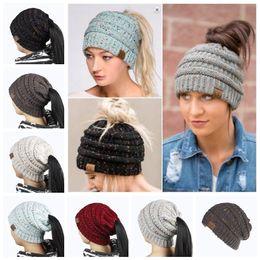 Wholesale Pony Fashion - 6 Colors CC Confetti Print Ponytail Caps CC Knitted Beanie Fashion Winter Warm Hat Back Hole Pony Tail Casual Beanies LJJY966