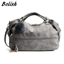 Wholesale Pillow Balls - Bolish Scrub Shoulder Bags for Women Female Fashion Fur Ball Dames Tassel Lady Vintage Tassel Crossbody Bag Girl Causal Handbags