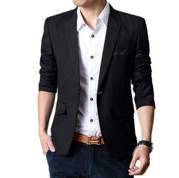 Wholesale man s formal occasion - New Men Slim Fashion Fit Blazers Leisure Men Suit Jacket Blazer Black high quality formal occasion suit jacket