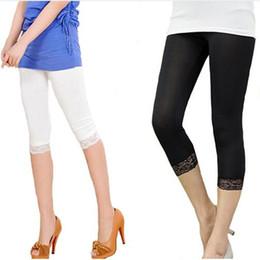 81b2d8a37 three quarter leggings 2019 - Women Elastic Lace Leggings Summer three  quarter Pants bodycon jeggings big