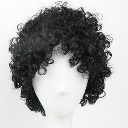 Corti short parrucca ricci online-Capelli sintetici corti Parrucca nera Parrucche afro crespi capelli ricci per le donne nere Parrucche afro-americane Stile naturale parrucche piene