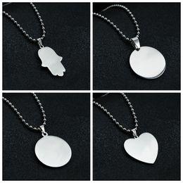 collana di perle per il giorno delle nozze Sconti Ciondolo in bianco rotondo collana in acciaio inox a forma di cuore specchio polacco per incisione laser fai da te collane regalo dei bambini delle donne all'ingrosso