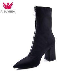 Canada 2018 nouvelle mode mi-mollet tissu stretch chaussette bottes femmes bout pointu talon haut femmes bottes marque Design hiver supplier women mid calf socks Offre