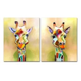 Pinturas a óleo girafas on-line-Pintados à mão Da Lona Paleta Girafa Pinturas Handmade Pintura A Óleo Abstrata Animal Para Sala de estar Home Decor Wall Art Pictures