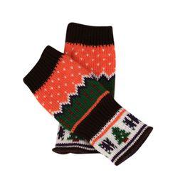 Wholesale Orange Knit Gloves - Christmas Knitted Fingerless Winter Gloves Unisex Soft Warm Mitten Gants Femmes Askeri Eldiven Luva Feminina Inverno