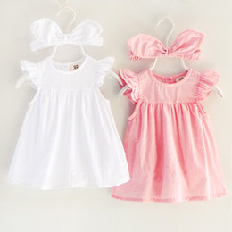 Wholesale Fly America - romper 2018 INS Europe and America new arrival Girl summer fly sleeve solid color girls high quality cotton cute romper dress+Hairband