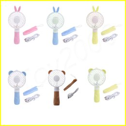 Wholesale mini folding usb fan - Summer Portable Folding Fan USB Charging Cool Removable Rotating Handheld Mini Outdoor Fans Pocket Folding Hand mini Fan Cooler with Strap
