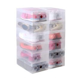 organisateur empilable Promotion 10 pcs dans 1 haute qualité clair pliable en plastique chaussure boîtes de rangement cas empilable organisateur porte-chaussures chaud