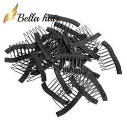 Wholesale professional hair clips - Bella Hair® Professional 32 pcs Wig Combs for Wig Caps to Make Wig Black Color Clips for Fix Wigs Julienchina