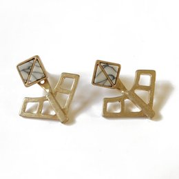 Wholesale White Gold Filigree - Free Shipping New Simple White Marble Stone Filigree Square Stud Earring, Detachable New Punk Style Earring