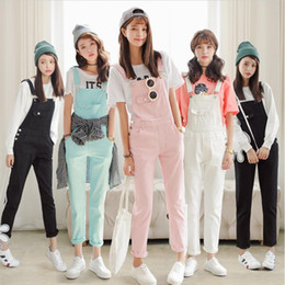 Свободные женские подтяжки онлайн-Free Shipping 2017 Summer Spring Denim Jumpsuits Women's Overalls Pants/Ladies' Jeans Candy Color Rompers/Female Suspender W362