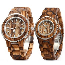 luxury wood watches 2018 - BEWELL Luxury Brand Pair of Couple Quartz Watch Waterproof Calendar Men Women Wood Watch Lover's Wristwatches relogio