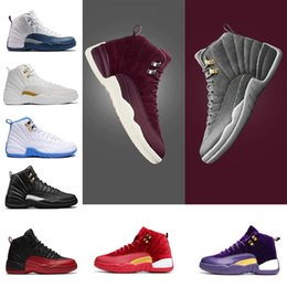 Wholesale Games Fabric - Shoes series 12 Bordeaux Dark Grey wool basketball shoes ovo white Flu Game UNC Gym red taxi gamma french blue Suede sneaker 8-13