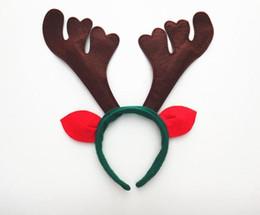 Wholesale outdoor deer decoration - Deer antler headband antler christmas horn headband with ears Christmas Headwear reindeer antlers jingle bells hair band