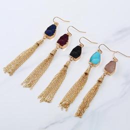 Wholesale Pink Chandelier Jewelry - fashion drusy druzy earrings gold plated geometry resin stone dangle long tassel earrings for women jewelry