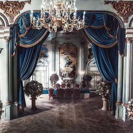 Chandelier fondos online-5x7ft Vinyl Blue Curtains Crystal Chandelier Vintage Interior Escénica Boda Telón de fondo Foto Apoyos Estudio de fondo