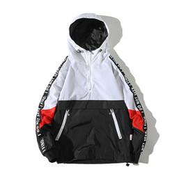 Giacca di blocco online-giacca bomber da uomo Giacche con cappuccio da uomo 2018 New Patchwork Color Block Pullover Jacket Fashion Casual Coat Streetwea