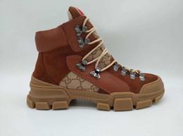 Venta caliente de cuero real de las mujeres zapatos de cuero de los hombres de las mujeres botas otoño invierno tobillo diseñador moda marca de lujo botas de los hombres desde fabricantes