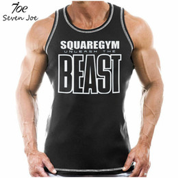 Wholesale Blue Beast - Seven Joe New Fitness Men Tank Top Beast Print Mens Gyms Bodybuilding Stringers Tank Tops Singlet Brand Clothing