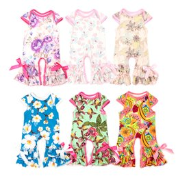Wholesale Girls Pajamas Size - Baby floral Ruffle romper girls Flower print Jumpsuits 2018 summer children ruffled Pajamas kids Climb clothes 30 styles C3779