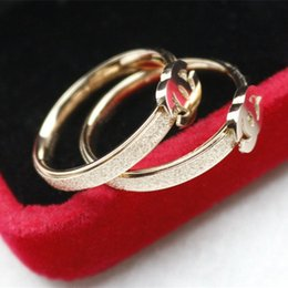 Wholesale Friends Gold - Valentine's Day Gift for Girl Friend Luxury Design Ring Stainless Steel Rose Gold Plated Women Ring for Girls Women for Party Wedding