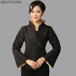 Wholesale Chinese High Collar Jacket - High Quality Black Women's Satin Jacket Traditional Chinese style Coat Flowers Mujere Chaqueta Size S M L XL XXL XXXL Mny23-B