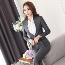 Wholesale Black Work Pants For Women - New Professional Female Pantsuits Formal Uniform Styles for Business Womens Work Wear Jackets And Pants Ladies Trousers Sets