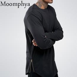 Wholesale Street Swag - Moomphya Fashion Street Wear T Shirt Men Extend Swag Side Zip T Shirt Super Longline Long Sleeve T -Shirt With Curve Hem And Zip