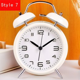Wholesale Bell Clocks - 4-inch creative alarm clock classic mute digital alarm clock for super loud double bell child metal material