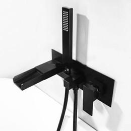 Grifo de baño cromo online-Rolya Matte Negro Cascada Cuadrado Baño Ducha Grifo Mezclador Grifo Montado en la pared Bañera Relleno Cromo