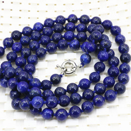 Wholesale horn bead necklace - whole saleFashion statement women long chain necklace 8mm natural lapis lazuli stone round beads high quality jewelry 36inch B3211