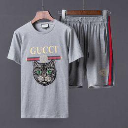 Wholesale Printed Hoodie Tiger - New Sportswear Tracksuits Men's Embroidery Tigers Print Sportswear Hoodies Sweatshirts + Sweatpants Casual Sportswear Sets 2pcs