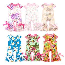 Easter bebê roupas on-line-2018 Verão Kids Clothing bebés roupa da menina macacãozinho Ruffle florais Jumpsuits Valentines Dias presentes de Páscoa recém-nascido Romper BY0253