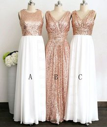 Wholesale Three Floor Sexy Dresses - Three Kinds Of Styles A Line Floor Length Sequin Sleeveless Sexy Sparkling Custom Made Wedding Dresses Bridesmaid Dress