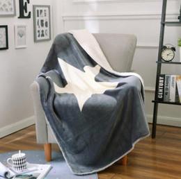 Wholesale Bedspread Fabrics - Gray Star Blanket Elegant Sherpa Comfortable Throws Coral Fleece Bedspread For Sofa Bed Home 150cmx200cm Blanket