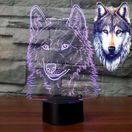 Wholesale Cabeça de lobo ilusão D Night Light Lighting LED Kid Mesa Lâmpada de Mesa Presente de Aniversário R45