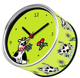 Wholesale I Love Wall - Free Shipping Green Cow Designs 2pcs lot I Love Cow Kitchen Fridge Magnets Clocks Can Wall Clocks,Metal Desk Clocks