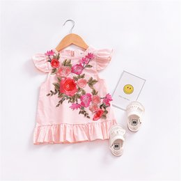 Wholesale Elegant Children Dresses - Girl's Dresses cute dimensional flower pleated Summer child skirt clothes Elegant lovely dress Baby Kids Clothing B11